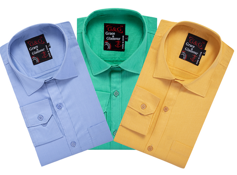 Combo of 3 Cotton Full Sleeve Casual Shirt for Men