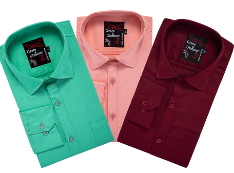 Cotton Full Sleeve Casual Shirt for Men Combo ( Pack of 3)