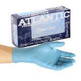 Atlantic Nitrile Gloves, Lightly Powdered, Inner Box Of Gloves and Glove On Hand