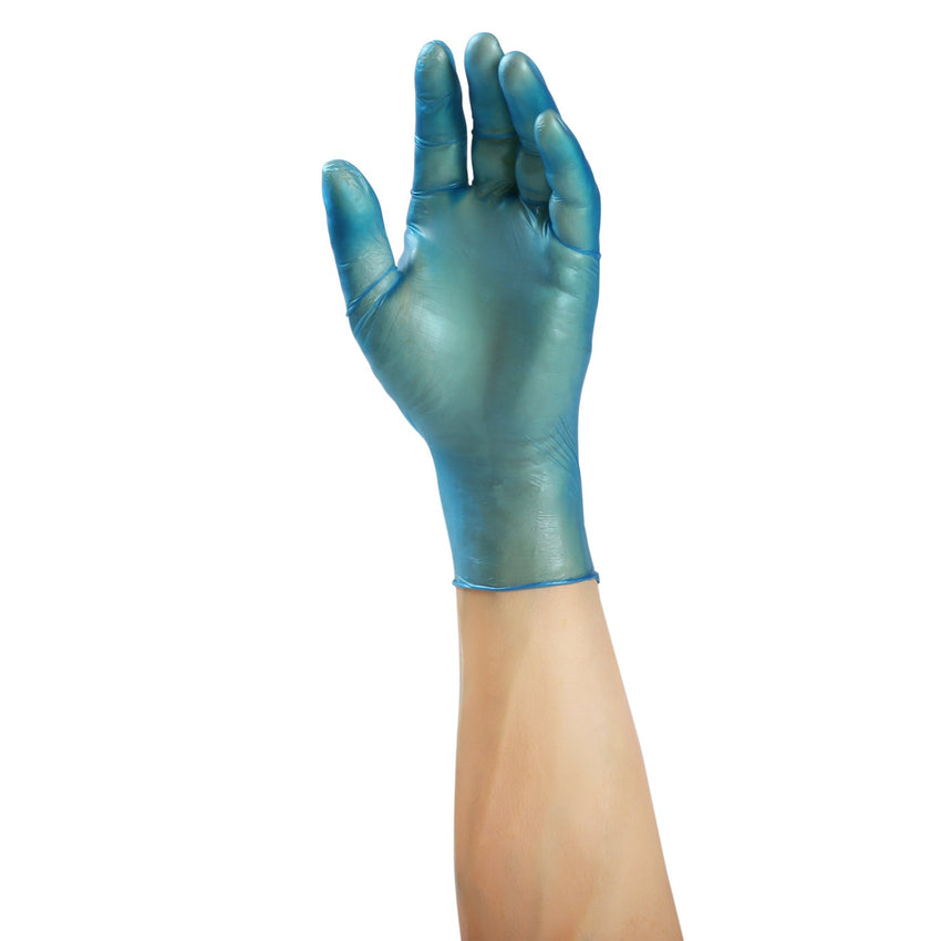 Odyssey Blue Vinyl Gloves, Lightly Powdered, Glove On Hand