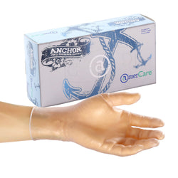 Anchor Vinyl Gloves, Lightly Powdered, Inner Box Of Gloves and Glove On Hand