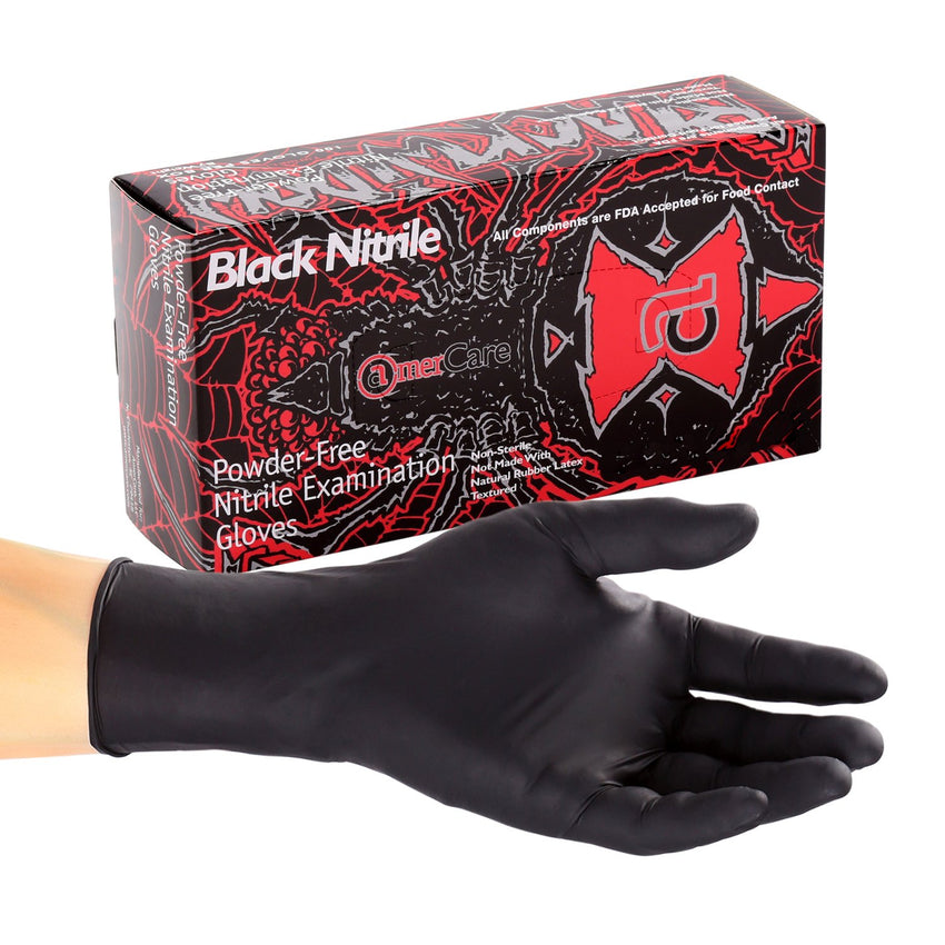 Black Widow Nitrile Gloves, Exam Grade, Powder Free, Inner Box Of Gloves and Glove On Hand