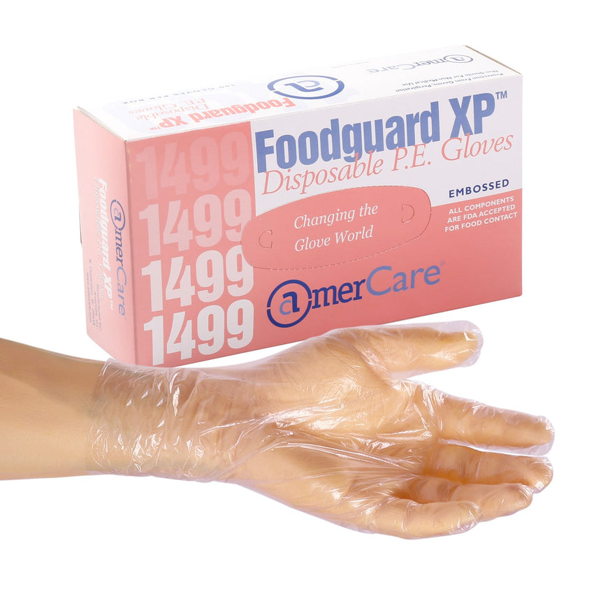 Foodguard XP Poly Gloves, Powder Free, Inner Box Of Gloves and Glove On Hand