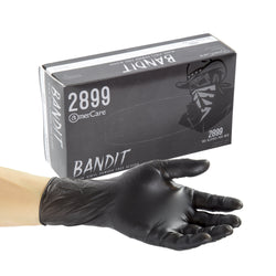 Bandit Black Vinyl Gloves, Powder Free, Inner Box Of Gloves and Glove On Hand