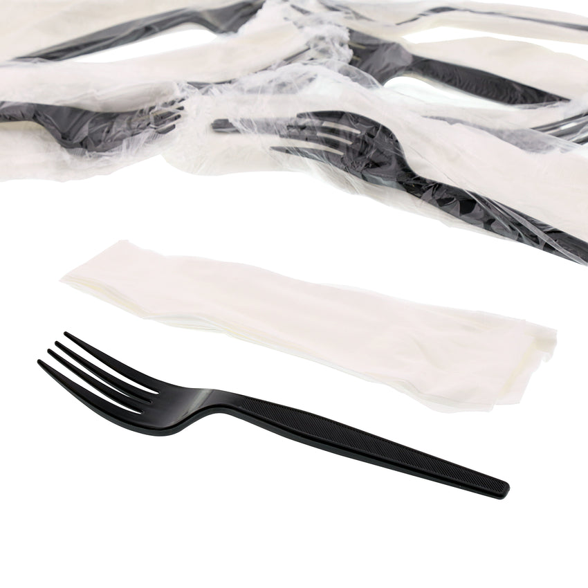 2 in 1 Cutlery Kit, Black, Medium Heavy Weight Polystyrene, Fork and Knife