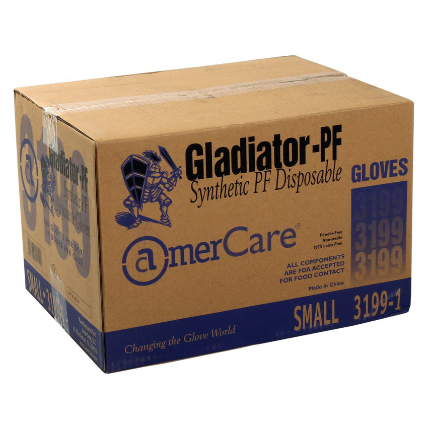 Gladiator Synthetic Stretch Vinyl Gloves, Powder Free, Closed Case