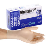 Gladiator Synthetic Stretch Vinyl Gloves, Powder Free, Inner Box Of Gloves and Glove On Hand