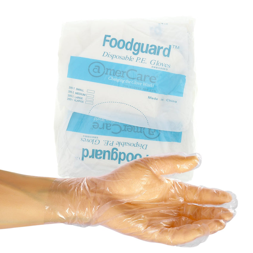 Foodguard Poly Gloves, Powder Free, Inner Package Of Gloves and Glove On Hand