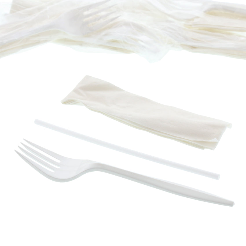 "3 in 1 Cutlery Kit, Series P203, White, Medium Weight Polypropylene, Fork, Straw and 10"" x 10"" Napkin, Angled View"