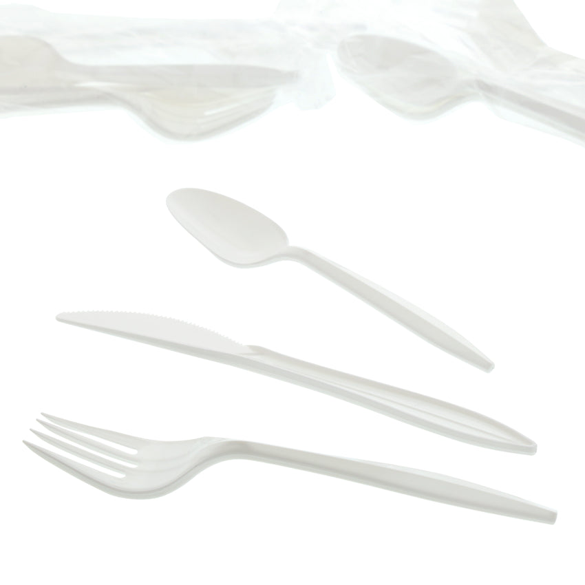 3 in 1 Cutlery Kit, Series P203, White, Medium Weight Polypropylene, Fork, Knife and Spoon