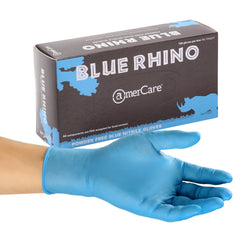 Blue Rhino Nitrile Gloves, Powder Free, Inner Box Of Gloves and Glove On Hand