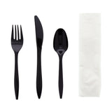 "4 in 1 Cutlery Kit, Series P203, Black, Medium Weight Polypropylene, Fork, Knife, Spoon and 12"" x 13"" Napkin"