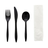 "4 in 1 Cutlery Kit, Series P203, Black, Medium Weight Polypropylene, Fork, Knife, Soup Spoon and 12"" x 13"" Napkin"