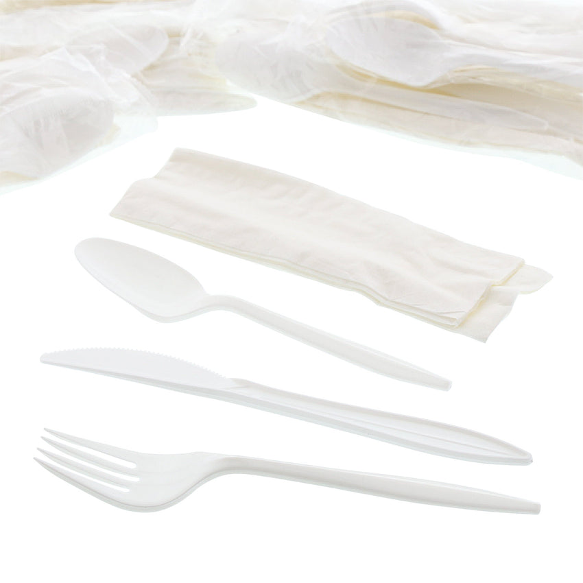 "4 in 1 Cutlery Kit, Series P203, White, Medium Weight Polypropylene, Fork, Knife, Spoon and 12"" x 13"" Napkin, Angled View"
