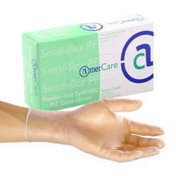 Sensi-Flex Vinyl Gloves, Exam Grade, Powder Free, Inner Box Of Gloves and Glove On Hand