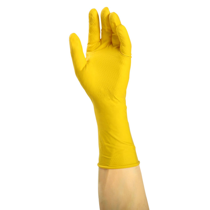 Neptune Yellow Latex Gloves, Flock Lined, Powder Free, Glove On Hand