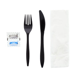 5 in 1 Cutlery Kit, Series P203, Black, Medium Weight Polypropylene, Fork, Knife, Salt And Pepper Packets and 12