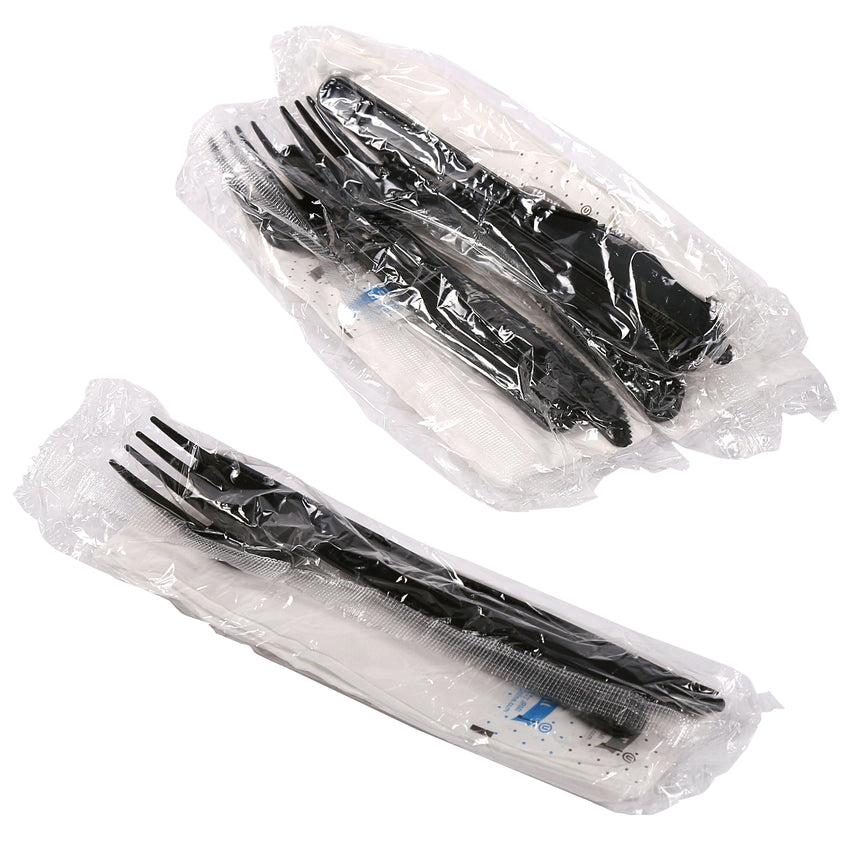 5 in 1 Cutlery Kit, Black, Medium Weight Polypropylene, Fork, Knife, Salt and Pepper Packets and Napkin, Individually Wrapped