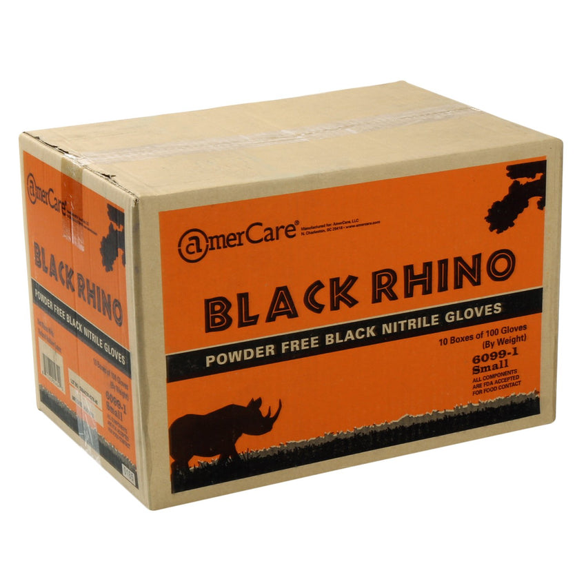 Black Rhino Nitrile Gloves, Powder Free, Closed Case