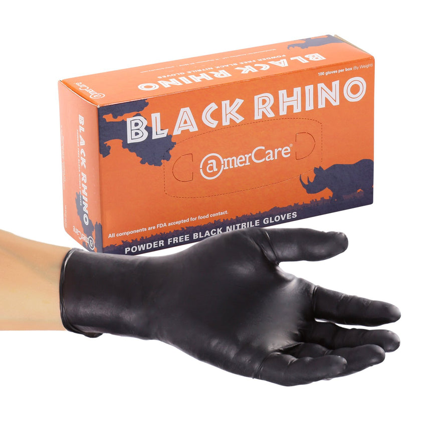 Black Rhino Nitrile Gloves, Powder Free, Inner Box Of Gloves and Glove On Hand