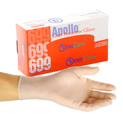 Apollo Latex Gloves, Powder Free, Inner Box Of Gloves and Glove On Hand