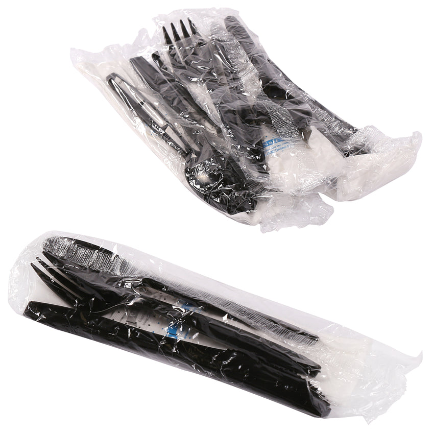 6 in 1 Cutlery Kit, Black, Medium Plus Weight Polypropylene, Fork, Spoon, Knife, Salt And Pepper Packets and Napkin