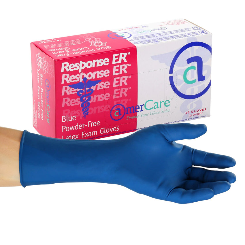 Response ER Latex Gloves, Exam Grade, Powder Free, Inner Box Of Gloves and Glove On Hand
