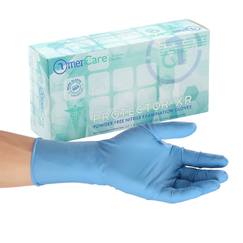 Protector XR Nitrile Gloves, Exam Grade, Powder Free, Inner Box Of Gloves and Glove On Hand