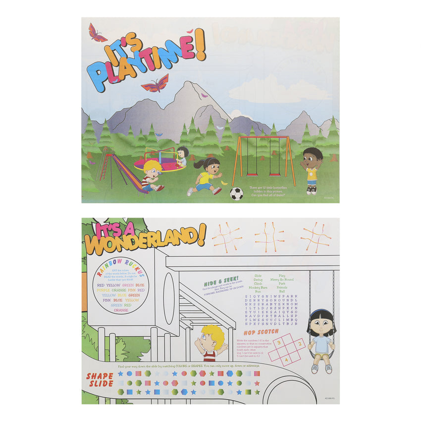"Activity Sheet, Playground Theme, Full Color, 14"" x 10"", Front and Back"