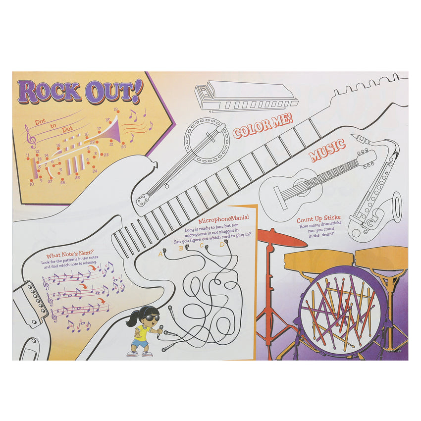 "Activity Sheet, Rock N Roll Theme, Full Color, 14"" x 10"", Back View"