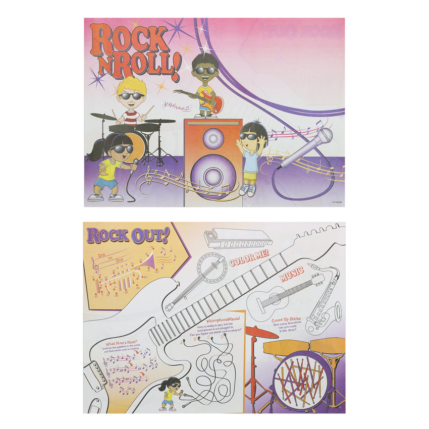 "Activity Sheet, Rock N Roll Theme, Full Color, 14"" x 10"", Front and Back"