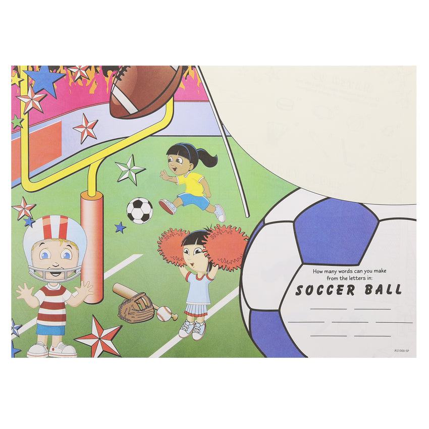 "Activity Sheet, Sports Theme, Full Color, 14"" x 10"""