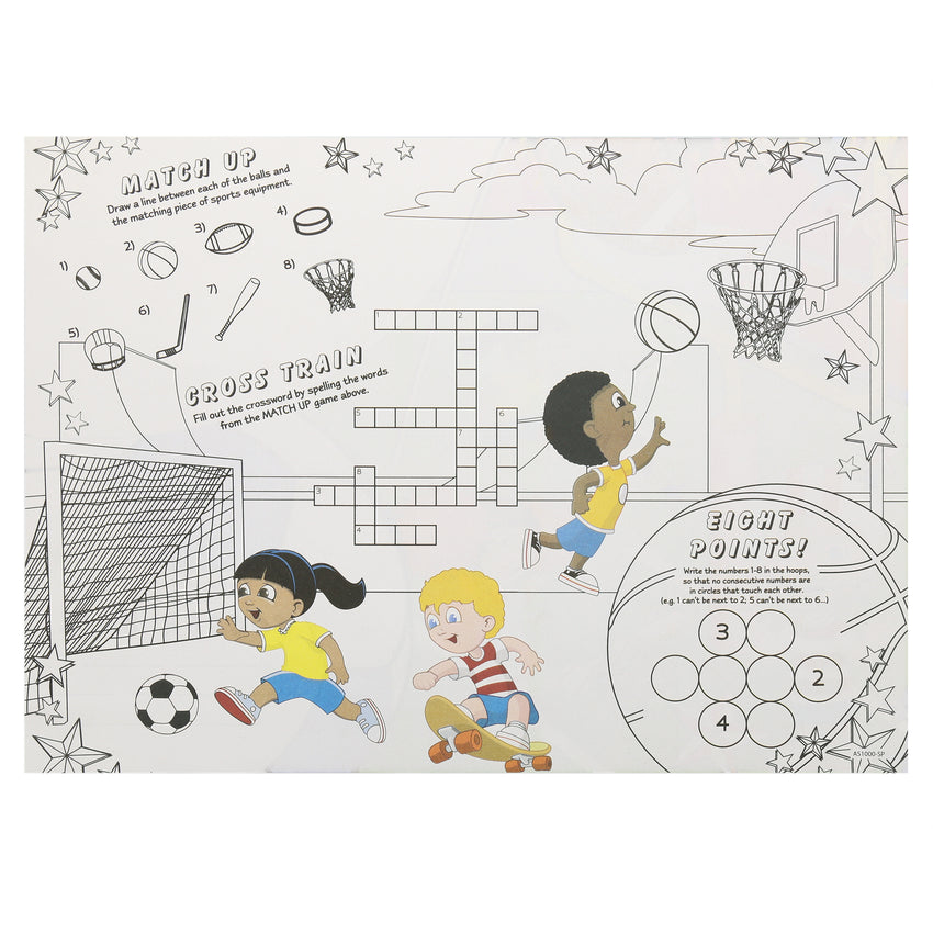 "Activity Sheet, Sports Theme, Full Color, 14"" x 10"", Back View"