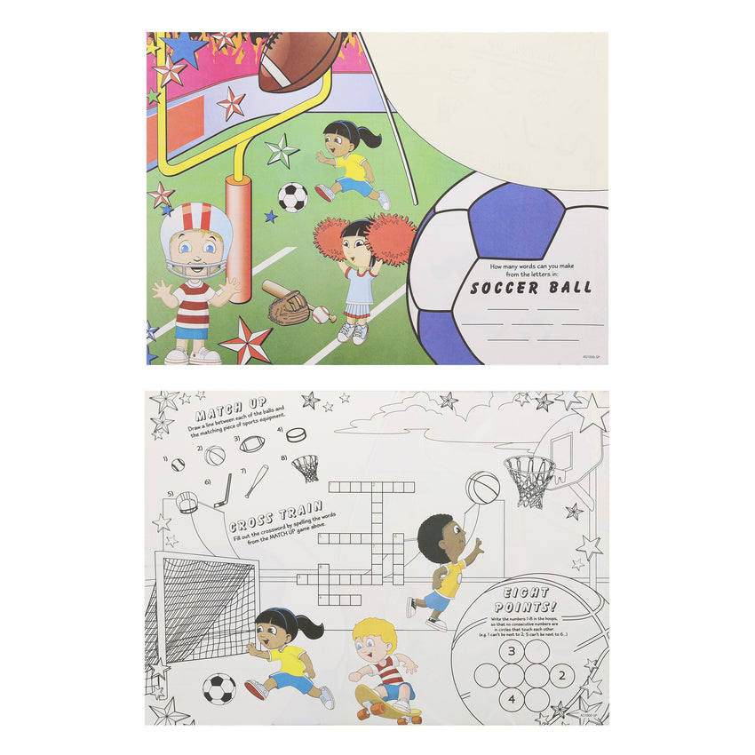 "Activity Sheet, Sports Theme, Full Color, 14"" x 10"", Front and Back"