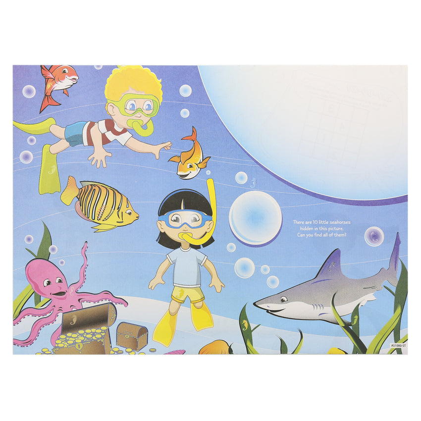 "Activity Sheet, Sea Theme, Full Color, 14"" x 10"""
