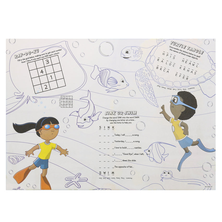 "Activity Sheet, Sea Theme, Full Color, 14"" x 10"", Back View"