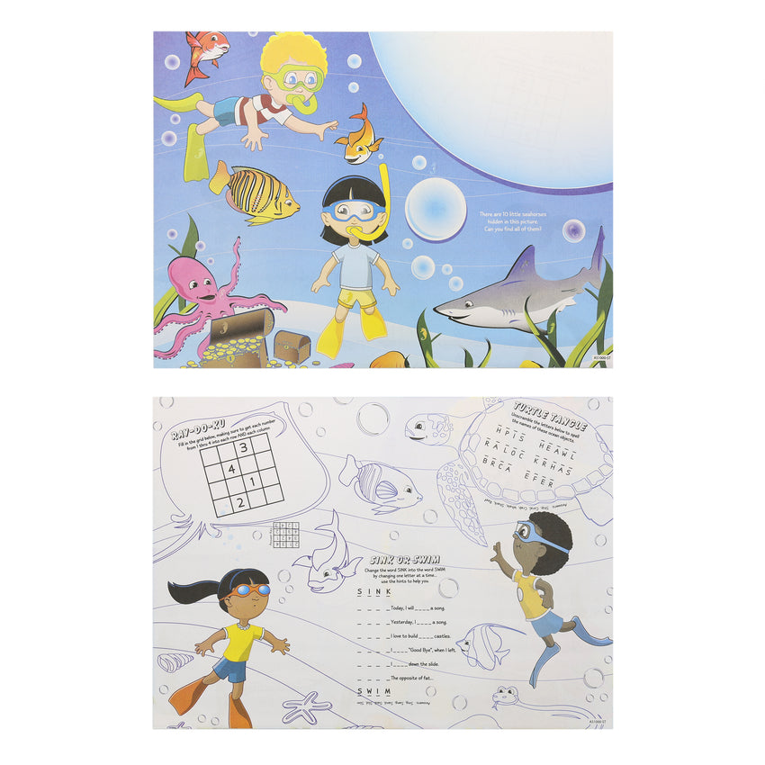 "Activity Sheet, Sea Theme, Full Color, 14"" x 10"", Front and Back"
