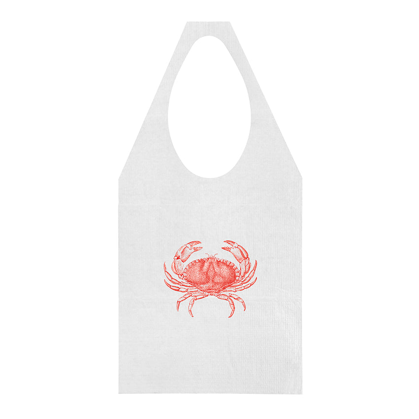 "15"" x 30"" Paper Adult Tie-On Bib With Crab Design"
