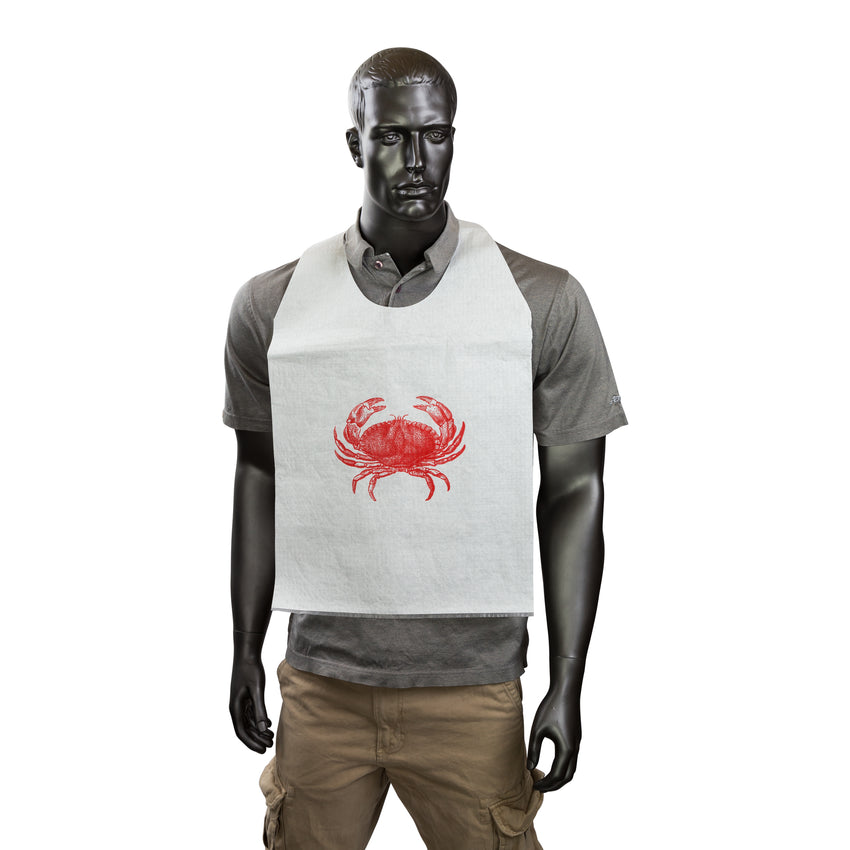 "15"" x 30"" Paper Adult Tie-On Bib With Crab Design, Bib On A Mannequin"