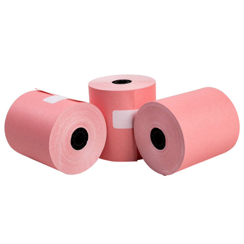 "Pink Bond Rolls, 3"" x 165', 1 Ply, 7/16"" ID Core, Photo of Three Rolls"