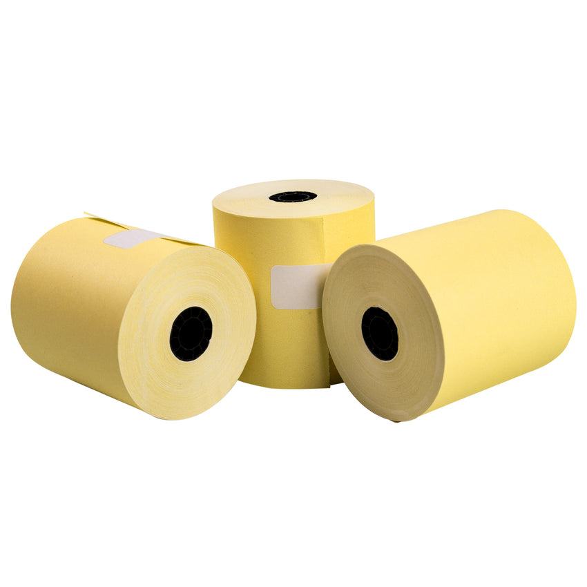 "Yellow Bond Rolls, 3"" x 165', 1 Ply, 7/16"" ID Core, Photo of Three Rolls"