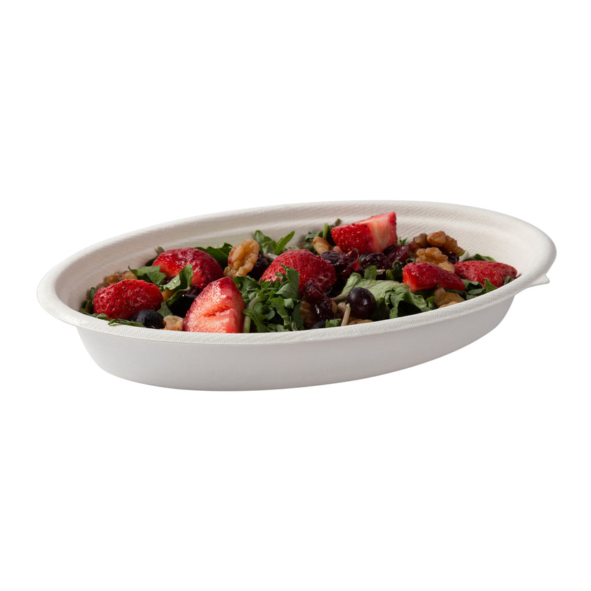 24 oz Oval Bowls, Bowl Filled With Food