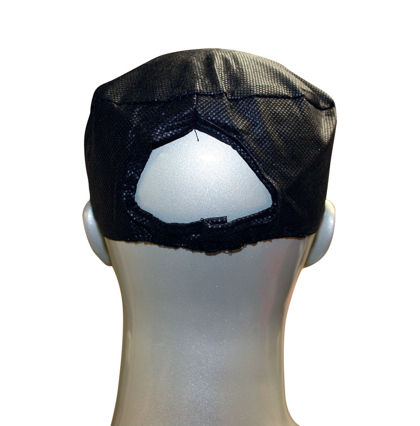 Large Black Disposable Beanie Caps, Beanie Cap On A Mannequin, Seen From The Back