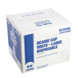 Large White Disposable Beanie Caps, Closed Case