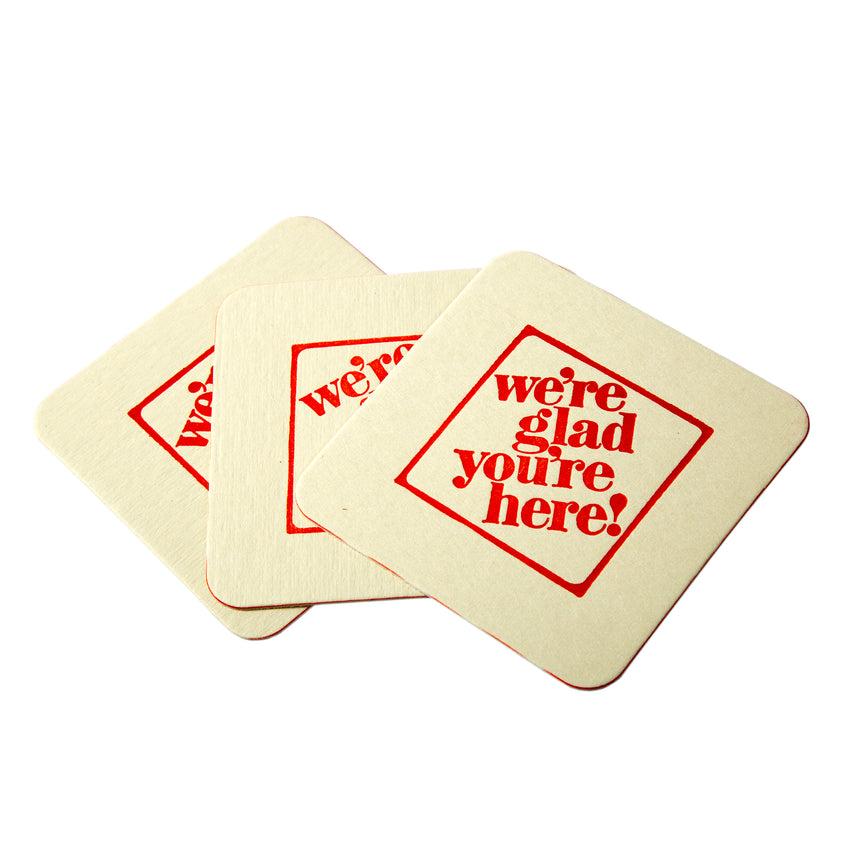 "3-1/2"" Pulp Board Square Beer Coasters, 35 PT, Group Image"