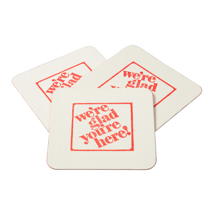 "3-1/2"" Pulp Board Square Beer Coasters, 45 PT, Group Image"