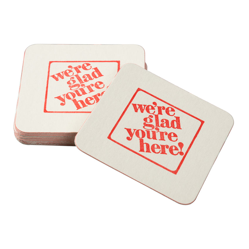 "3-1/2"" Pulp Board Square Beer Coasters, 45 PT, Individual Coaster And A Pile Of Coasters"
