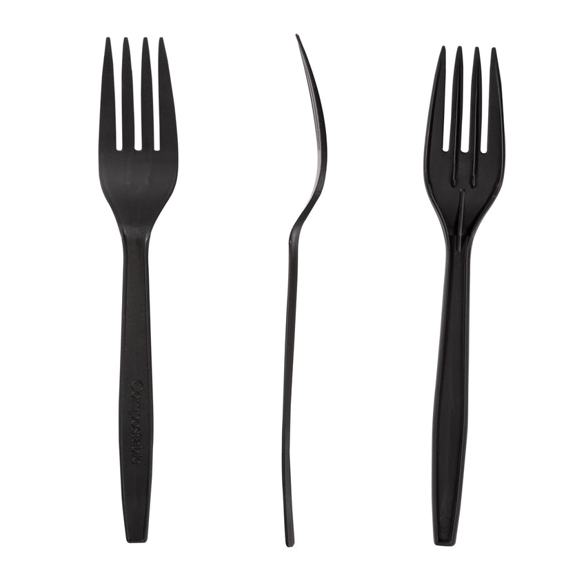 "6.5"" Compostable Black CPLA Forks, Front, Side and Back View"