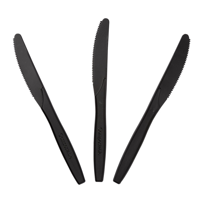 "6.5"" Compostable Black CPLA Knives, Three Knives Fanned Out"
