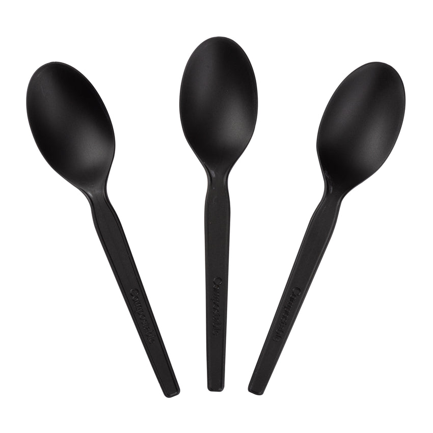 "6.5"" Compostable Black CPLA Spoon, Three Spoons Fanned Out"